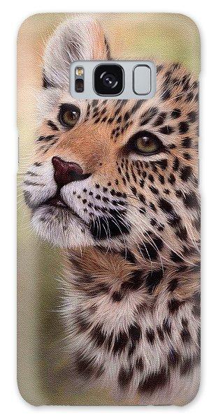 Jaguar Cub Painting Galaxy Case by Rachel Stribbling