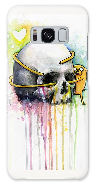 Jake The Dog Hugging Skull Adventure Time Art Galaxy Case