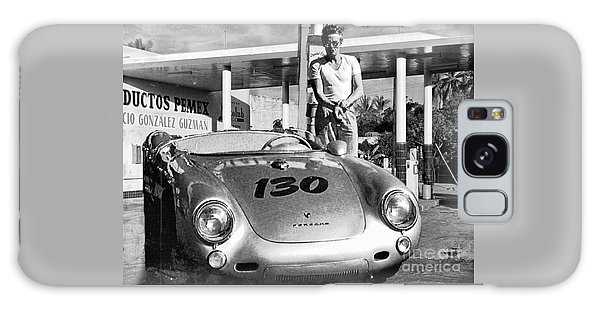 James Dean Filling His Spyder With Gas Black And White Galaxy Case by Doc Braham