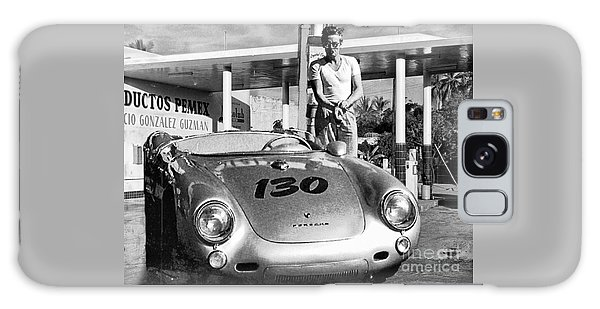James Dean Filling His Spyder With Gas Black And White Galaxy Case