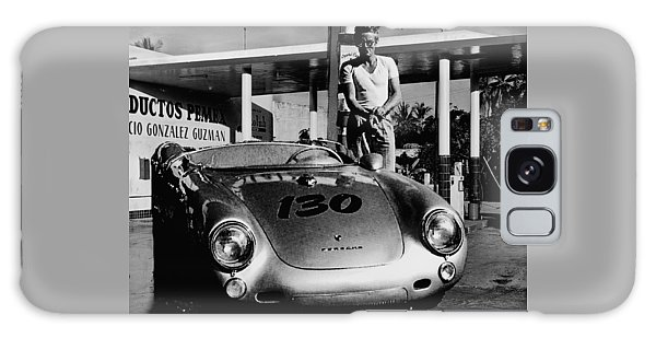 James Dean Filling His Spyder With Gas In Black And White Galaxy Case