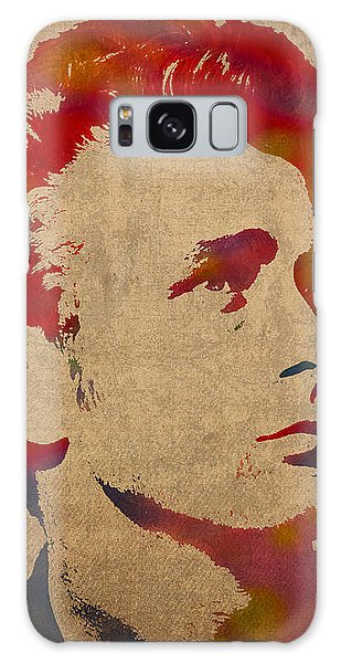 James Dean Watercolor Portrait On Worn Distressed Canvas Galaxy Case by Design Turnpike