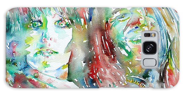 Janis Joplin And Grace Slick Watercolor Portrait.1 Galaxy Case