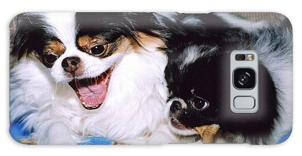 Japanese Chin Dogs Hanging Out And Telling Stories Galaxy Case by Jim Fitzpatrick