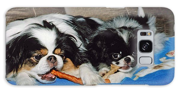 Japanese Chin Dogs Hanging Out Galaxy Case by Jim Fitzpatrick