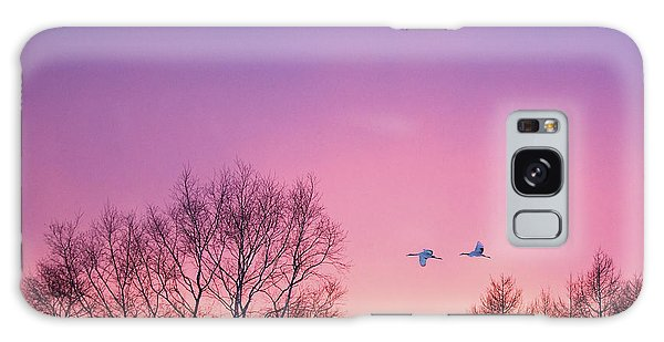 Japanese Cranes Flying To Roost Hokkaido Japan Galaxy Case
