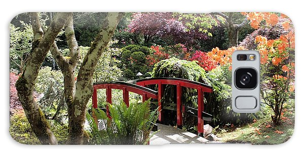 Japanese Garden Bridge With Rhododendrons Galaxy Case