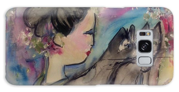 Japanese Lady And Felines Galaxy Case