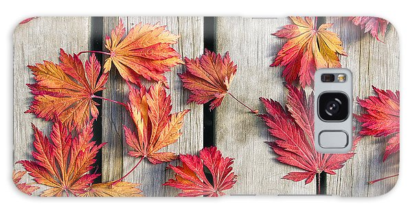 Japanese Maple Tree Leaves On Wood Deck Galaxy Case