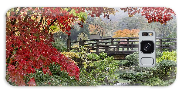 Japanese Maple Trees By The Bridge In Fall Galaxy Case