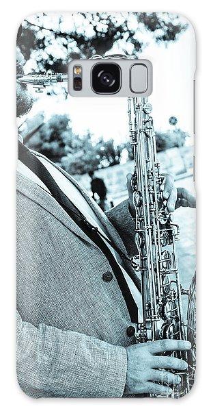 Jazz Musician Busker Playing Saxophone Galaxy Case