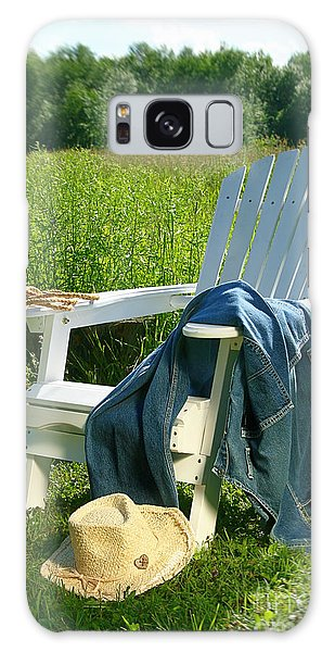 Galaxy Case featuring the photograph Jeans Laying On Chair  by Sandra Cunningham