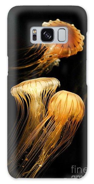 Jellyfish Trio Floating Against A Black Galaxy Case