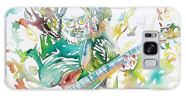 Jerry Garcia Playing The Guitar Watercolor Portrait.1 Galaxy Case