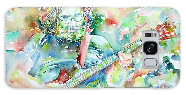 Jerry Garcia Playing The Guitar Watercolor Portrait.3 Galaxy Case