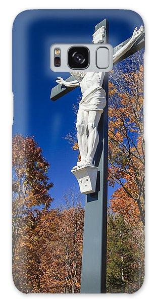 Sacred Heart Galaxy Case - Jesus On The Cross by Adam Romanowicz