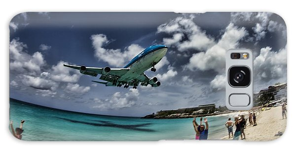 Jet Landing Over Maho Beach Galaxy Case
