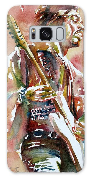 Jimi Hendrix Playing The Guitar Portrait.3 Galaxy Case