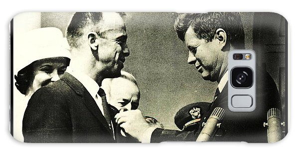 John F Kennedy With Astronaut Alan B Shepard Jr Galaxy Case