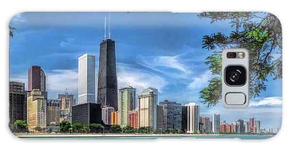 Galaxy Case featuring the painting John Hancock Chicago Skyline Panorama by Christopher Arndt