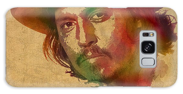 Johnny Depp Watercolor Portrait On Worn Distressed Canvas Galaxy Case