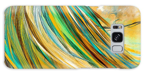 Joyous Soul- Yellow And Turquoise Artwork Galaxy Case