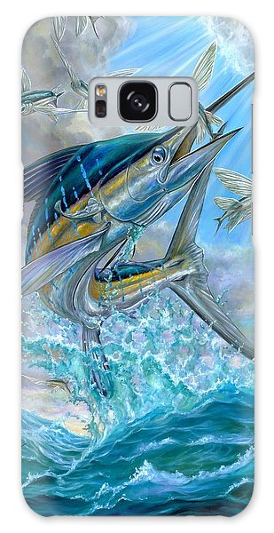 Jumping White Marlin And Flying Fish Galaxy Case
