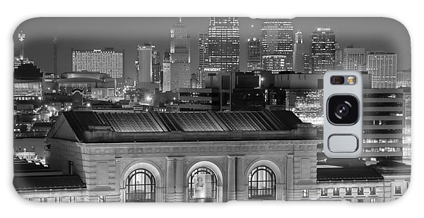 Kansas City Skyline At Night Kc Downtown Black And White Bw Panorama Galaxy Case by Jon Holiday