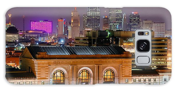 Kansas City Skyline At Night Kc Downtown Color Panorama Galaxy Case by Jon Holiday