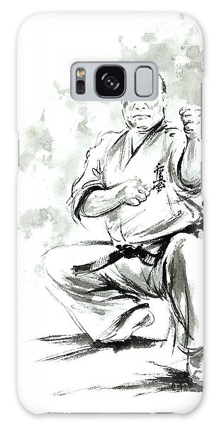 Oyama Galaxy Case - Karate Martial Arts Kyokushinkai Masutatsu Oyama Japanese Kick Japan Ink Sumi-e by Mariusz Szmerdt