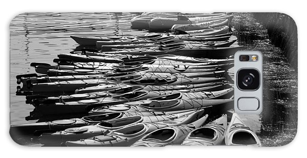 Kayaks At Rockport Black And White Galaxy Case