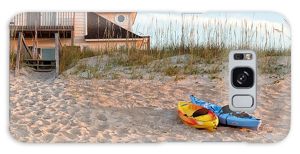 Kayaks Rest On Sand Dune In Morning Sun. Galaxy Case