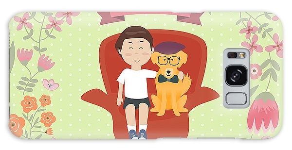 Young Galaxy Case - Kid With Golden Retriever Dog On The by Travel And Learn