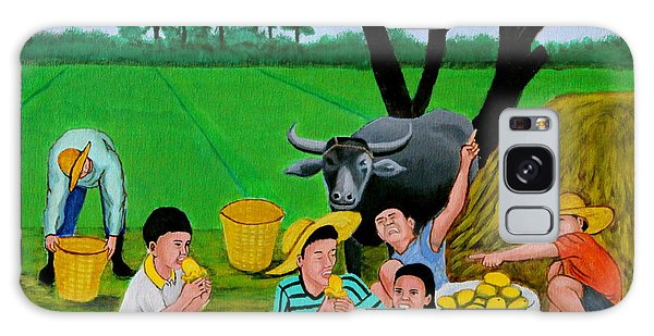 Kids Eating Mangoes Galaxy Case by Cyril Maza