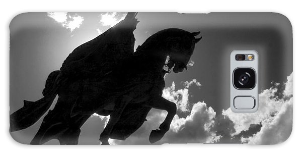 King Horseback Statue Black White Galaxy Case