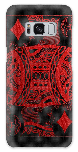 King Of Diamonds In Red On Black Canvas   Galaxy Case