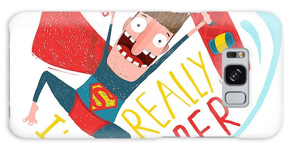 Board Galaxy Case - Kite Surfing Caricature Superhero by Popmarleo