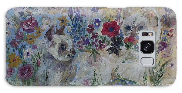 Kittens In Wildflowers Galaxy Case by Avonelle Kelsey