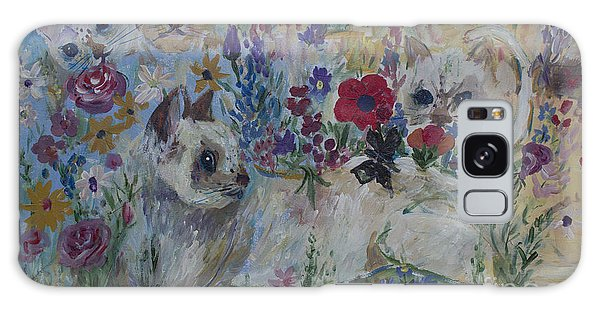 Kittens In Wildflowers Galaxy Case