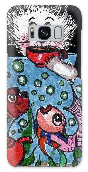 Kitty Has Tea And Chat With Friends.   Galaxy Case by Joyce Gebauer