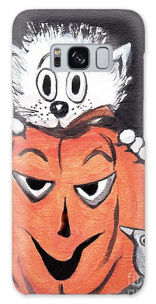 Kitty Hates Halloween Galaxy Case by Joyce Gebauer