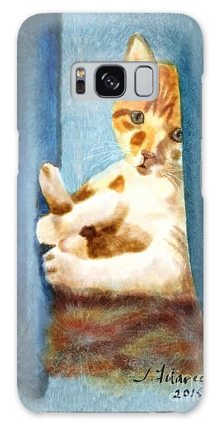 Kitty In A Corner Galaxy Case by Judy Filarecki