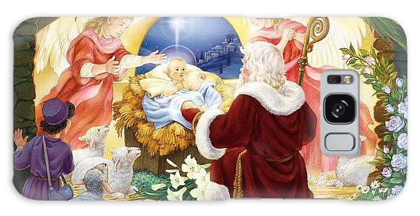 Kneeling Santa Nativity Galaxy Case