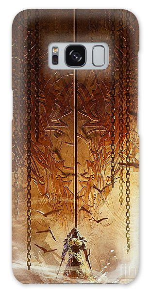 Door Galaxy Case - Knight Standing In Front Of The Huge by Tithi Luadthong