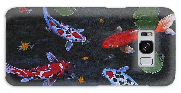 Koi Fishes Original Acrylic Painting Galaxy Case