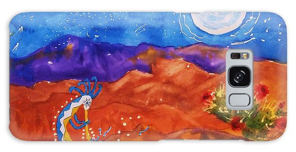 Kokopelli Playing To The Moon Galaxy Case by Ellen Levinson