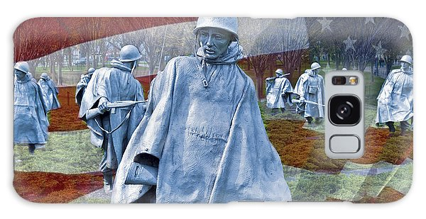 Korean War Veterans Memorial Bronze Sculpture American Flag Galaxy Case