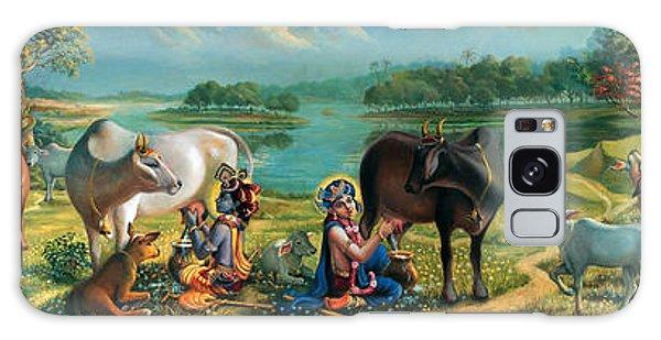 Krishna Balaram Milking Cows Galaxy Case