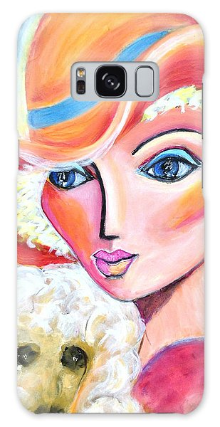 Lady And Poodle Galaxy Case