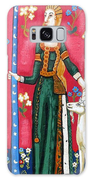 Tapestry Galaxy Case - Lady And The Unicorn La Pointe by Genevieve Esson